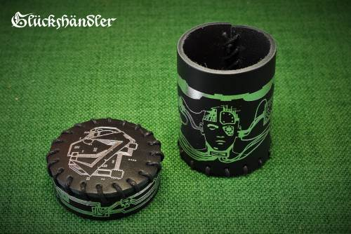 Würfelbecher mit Deckel Cyberpunk schwarz