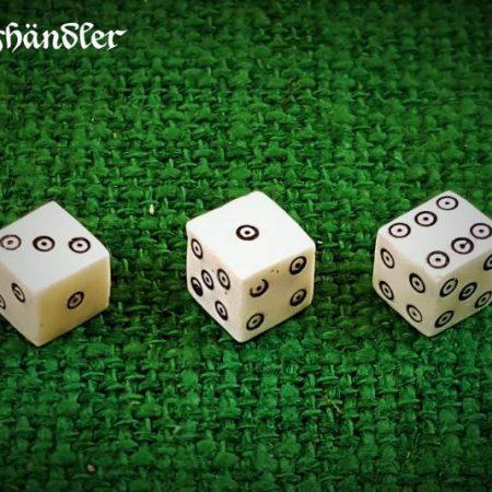 3 Mittelalter-Würfel Knochen mit Kreisaugen