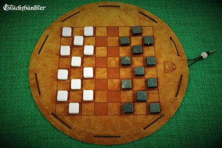 Dame-Spiel aus Leder mit Spielsteinen aus Marmor -schwarz und weiß