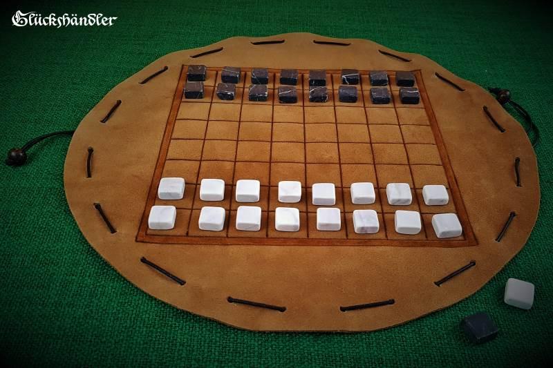 Latrunculi Beutelspiel mit Spielsteinen aus Marmor