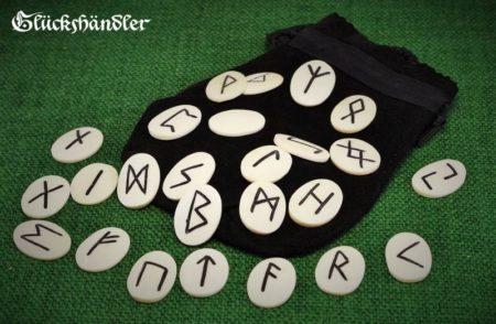 Runen Set Knochen mit Ledersäckchen