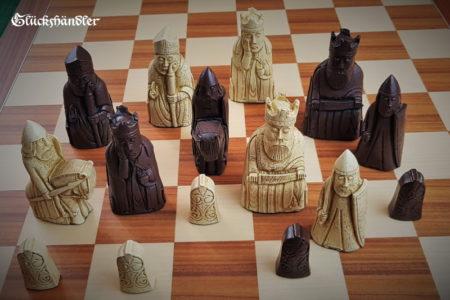 Schachfiguren Isle of Lewis groß Farbe Braun & beige II