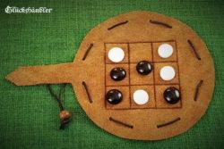 Tic Tac Toe Spiel aus Leder mit Glassteinen