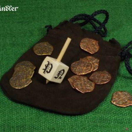Glückskreisel Toton mit Spielmünzen und Lederbeutel