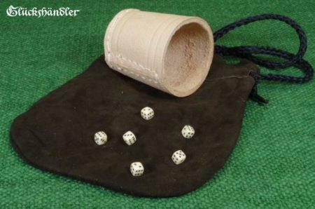 Würfel 5mm mit Lederbeutel als Set