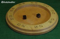 Würfelteller natur mit mittelalterlichem Glückspiel - Glückshaus