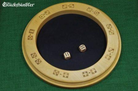 Würfelteller schwarzes Leder mit Glückspiel - Glückshaus