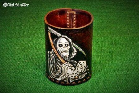 Würfelbecher Sensenmann Handarbeit Leder/Acryl