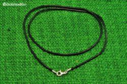 Baumwollband schwarz 1,5mm 45cm mit Silberverschluss geeignet für Ösen/Bohrungen ab 2,5mm