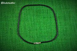Baumwollband schwarz gedreht 3mm 45cm mit Silberverschluss geeignet für Ösen ab 4mm