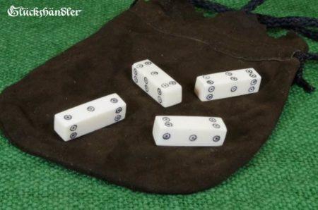 Knochenwürfel Keltisch mit Lederbeutel