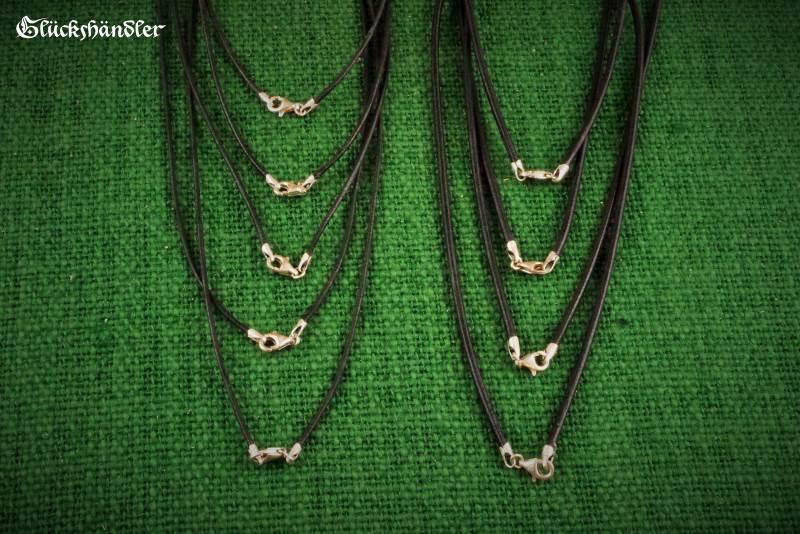 Lederbänder schwarz 1,5 - 2mm mit Silberverschluss