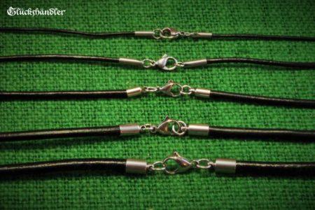 Lederbänder schwarz von 1mm - 5mm mit Edelstahlverschluss