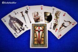 Spielkarten Tempelritter mit farbigen Illustrationen zu Leben und Geschichte der Tempelritter