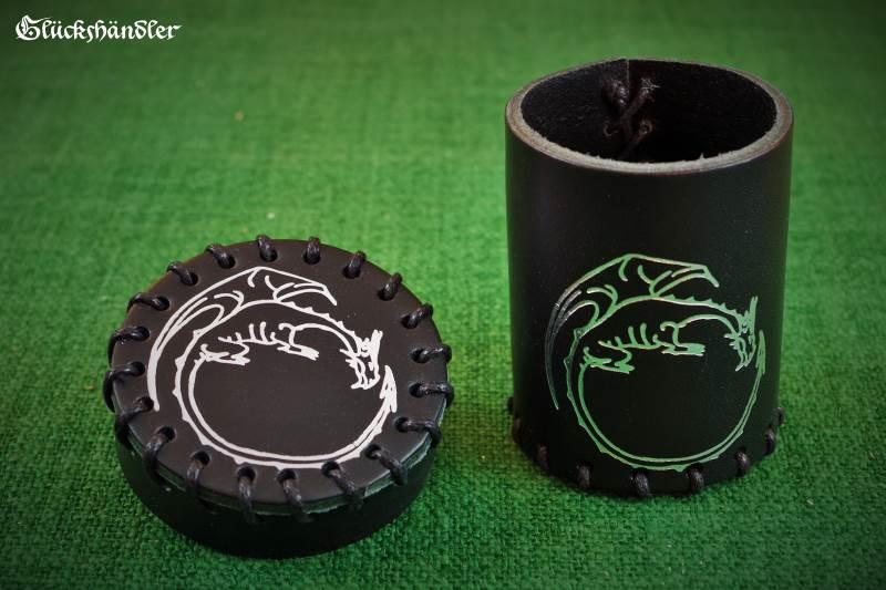 Würfelbecher mit Deckel - Drache offen - schwarz