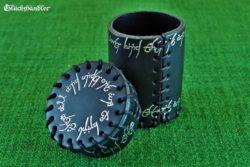 Würfelbecher mit Deckel - Elfenbecher offen - schwarz