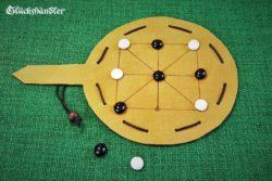 Afrikanische Mühle Spiel Leder klein mit Glassteinen als Beutelspiel