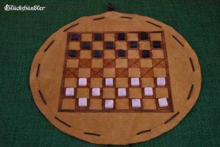 Dame - Spiel mit Beutelschachbrett aus Leder
