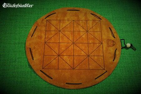 Alquerque Brettspiel aus Leder d 23 cm