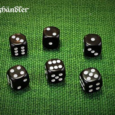 6 Acrylwürfel 16mm schwarz mit weißen Punkten
