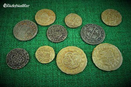Münzen Dublonen, Escudos , Piratenschatz Repliken