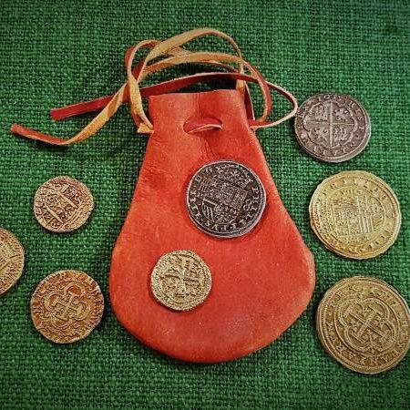 Münzen - Dublonen - Piratenschatz mit Lederbeutel