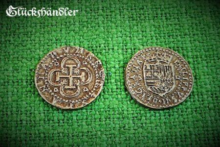 Münzen - Spanische , Dublonen, Escudos , Piratenschatz - Repliken. silberfarbig