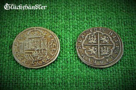 Münzen - Spanische , Dublonen, Escudos , Piratenschatz Repliken. silberfarbig