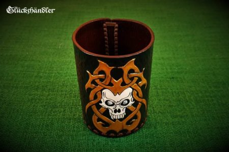 Würfelbecher Totenschädel Handarbeit Leder-Acryl