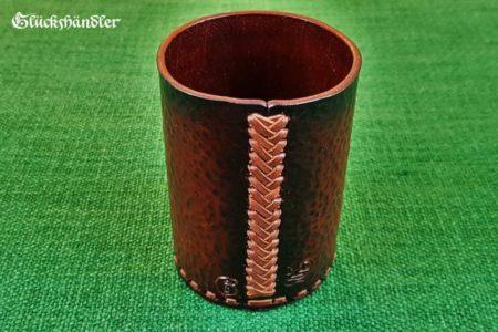 Würfelbecher Totenschädel Handarbeit Leder-Acryl. Rückseite