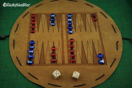 Backgammon - aus Leder mit Spielsteinen aus Glas blau & rot