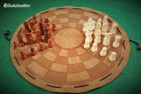 Byzantinisches Schach -Beutelspiel- groß mit Figuren aus Holz (2)