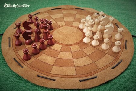 Byzantinisches Schach -Beutelspiel- klein mit Figuren aus Buchenholz (2)