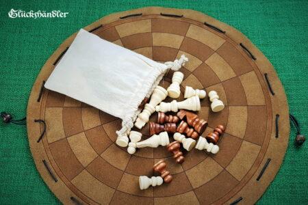 Byzantinisches Schach -Beutelspiel- mit Figuren aus Holz und Baumwollbeutel