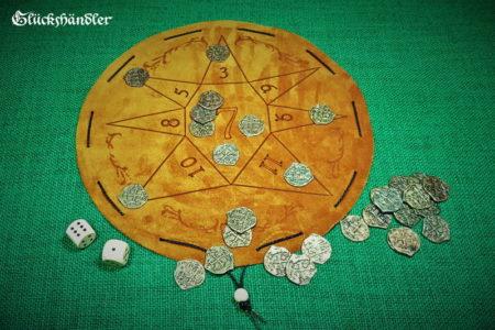 Glückshaus als Stern aus Leder - Beutelspiel mit 30 Spielmünzen