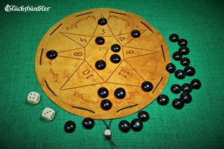 Glückshaus als Stern aus Leder - Beutelspiel. mit schwarzen Glassteinen 20mm