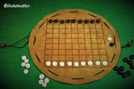 Hasami Shogi - Brettspiel aus Leder mit Glassteinen - Grundaufstellung