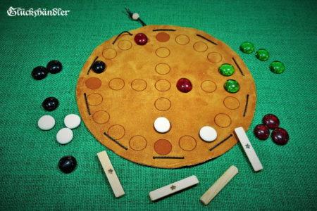 Nyout, Yut oder Yutnori - Brettspiel aus Leder mit Glassteinen III