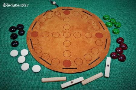 Nyout, Yut oder Yutnori - Brettspiel aus Leder mit Glassteinen IV