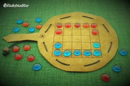 O-Pat-Kono - Choko Beutelspiel aus Leder mit Spielsteinen aus Glas rot & blau