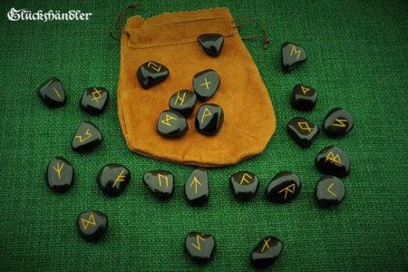 Runen Orakel Set - Onyx mit Lederbeutel