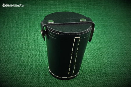 Cube cup with lid - leather black closed