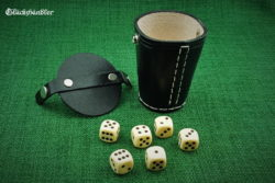Cube cup with lid - black leather and 6 cubes 16mm