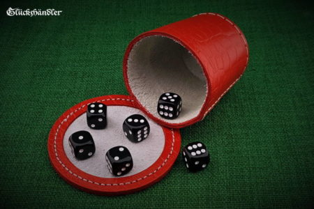 Cube cup with backing - leather (dragon skin) red & 6 cubes 18mm black