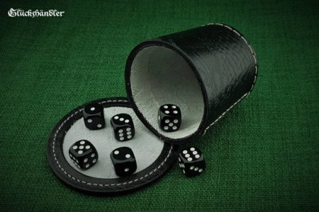 Cube cup with backing - leather (dragon skin) black & 6 cubes 18mm black