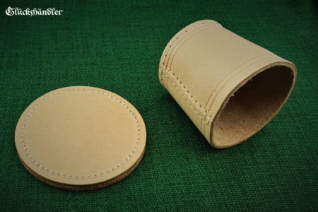Cube cup with backing - leather natural