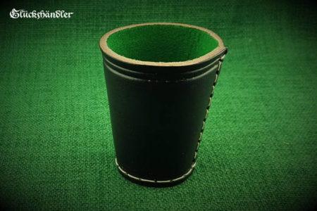 Würfelbecher - schwarz aus 4mm starkem Rindleder mit grüner Filzeinlage.