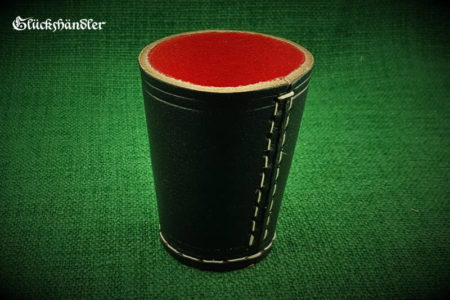 Würfelbecher - schwarz aus 4mm starkem Rindleder mit roter Filzeinlage