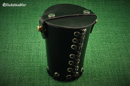 Cube cup with lid &eyelets - black closed leather II (1)