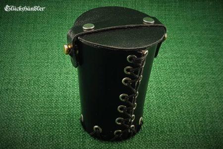 Würfelbecher mit Deckel &Ösen - Leder schwarz geschlossen II (1)